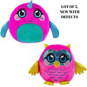 LOT OF 2 Mushmeez Squezy, Squihy - Owl & Nathalie